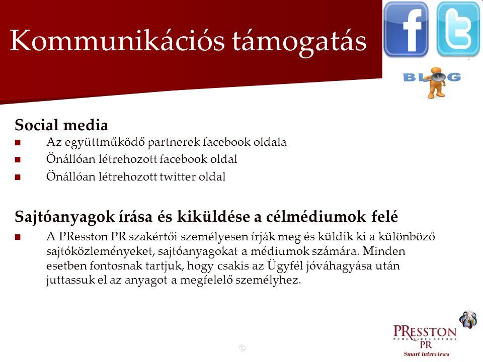 © Kommunikációs támogatás Social media   Az együttműködő partnerek facebook oldala   Önállóan létrehozott facebook oldal   Önállóan létrehozott twitter oldal Sajtóanyagok írása és kiküldése a célmédiumok felé   A PResston PR szakértői személyesen írják meg és küldik ki a különböző sajtóközleményeket, sajtóanyagokat a médiumok számára.