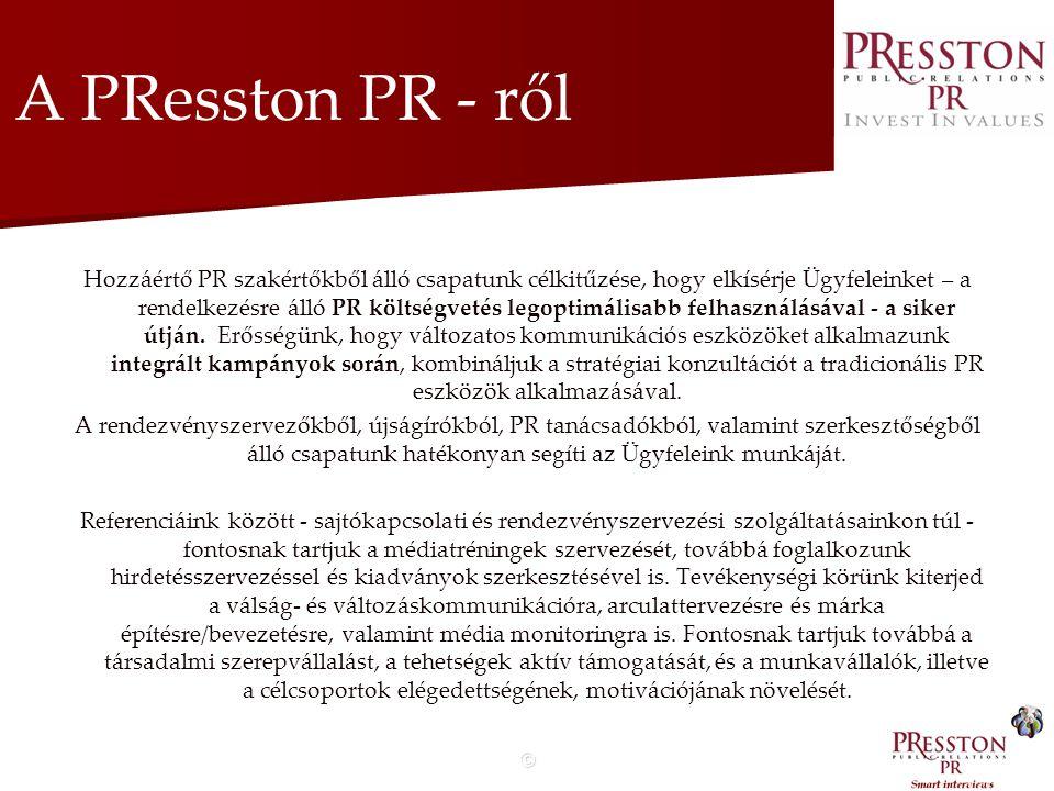 © A PResston PR Kft.-ről Szívesen segítjük új termékek és szolgáltatások bevezetését Magyarországon az image építés és termék PR integrált eszközein keresztül, illetve hatékonyan hozzájárulunk az Ügyfeleink reputációjának növeléséhez.
