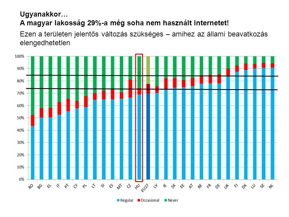 Ugyanakkor… A magyar lakosság 29%-a még soha nem használt internetet! Ezen a területen jelentős változás szükséges – amihez az állami beavatkozás elen