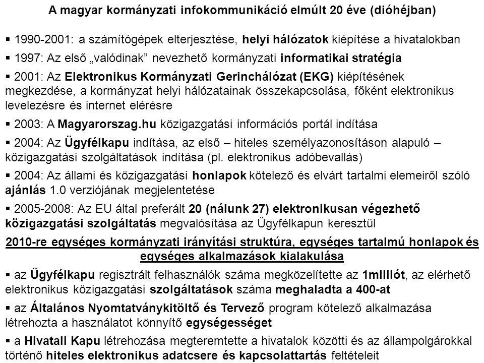 A magyar kormányzati infokommunikáció elmúlt 20 éve (dióhéjban)  1990-2001: a számítógépek elterjesztése, helyi hálózatok kiépítése a hivatalokban 