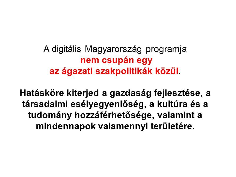 A digitális Magyarország programja nem csupán egy az ágazati szakpolitikák közül. Hatásköre kiterjed a gazdaság fejlesztése, a társadalmi esélyegyenlő