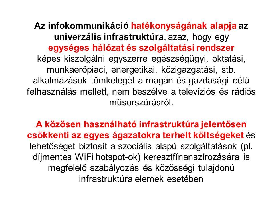Az infokommunikáció hatékonyságának alapja az univerzális infrastruktúra, azaz, hogy egy egységes hálózat és szolgáltatási rendszer képes kiszolgálni
