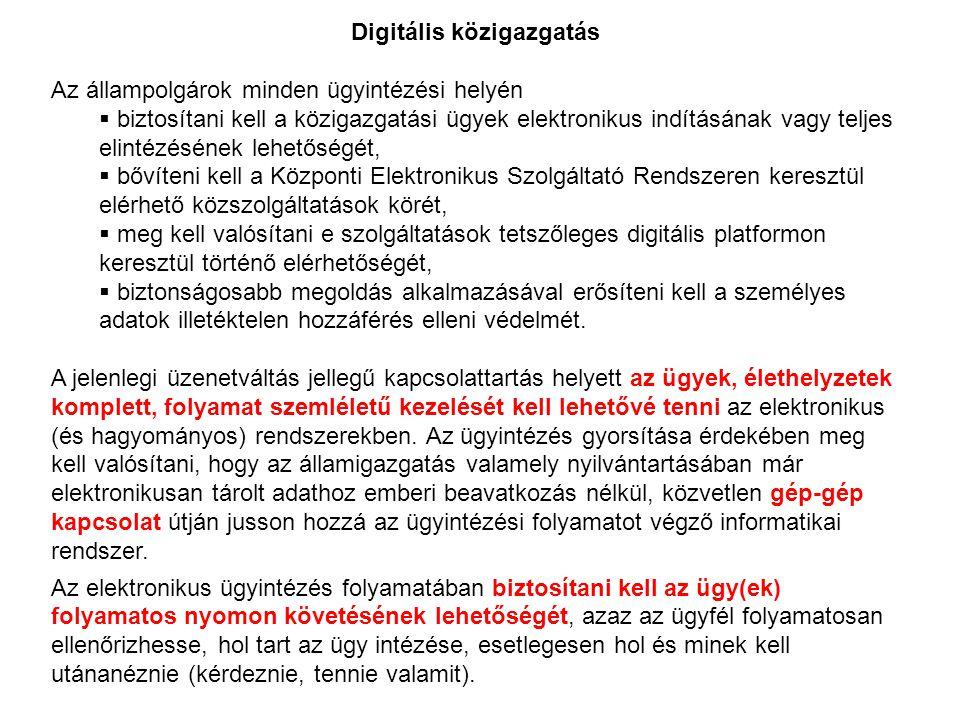 Digitális közigazgatás Az állampolgárok minden ügyintézési helyén  biztosítani kell a közigazgatási ügyek elektronikus indításának vagy teljes elinté