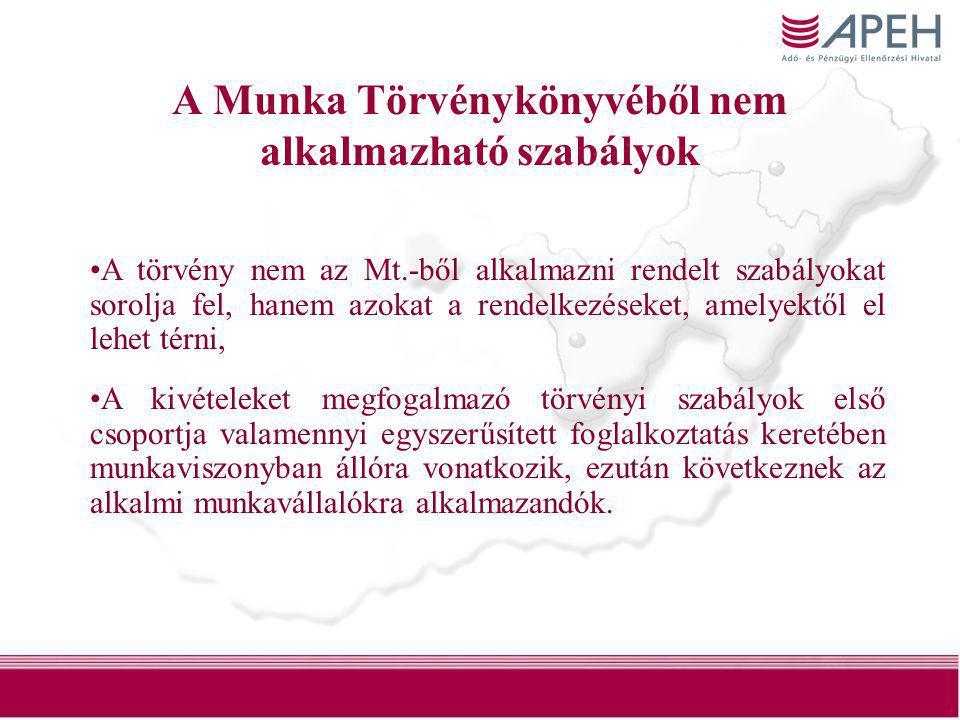 11 A Munka Törvénykönyvéből nem alkalmazható szabályok •A törvény nem az Mt.-ből alkalmazni rendelt szabályokat sorolja fel, hanem azokat a rendelkezé