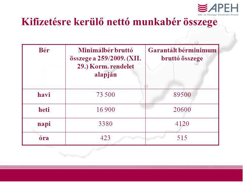 16 Kifizetésre kerülő nettó munkabér összege BérMinimálbér bruttó összege a 259/2009. (XII. 29.) Korm. rendelet alapján Garantált bérminimum bruttó ös