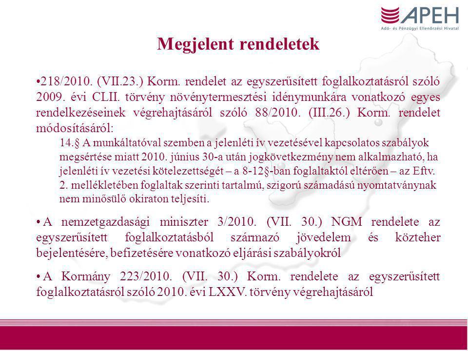 30 Megjelent rendeletek •218/2010. (VII.23.) Korm. rendelet az egyszerűsített foglalkoztatásról szóló 2009. évi CLII. törvény növénytermesztési idénym