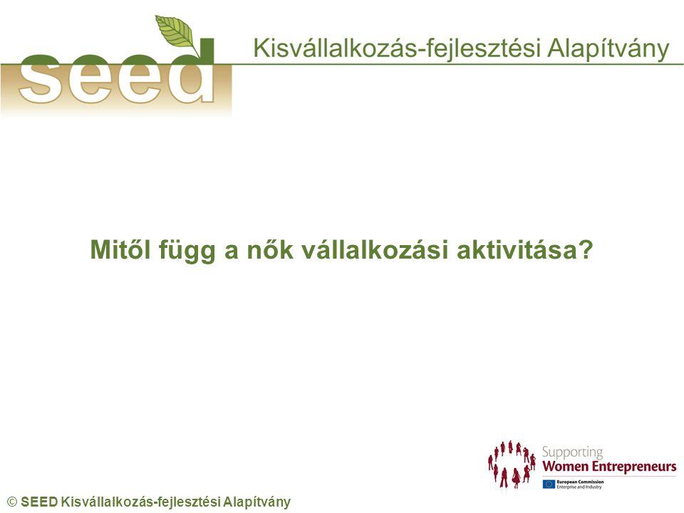© SEED Kisvállalkozás-fejlesztési Alapítvány Mitől függ a nők vállalkozási aktivitása