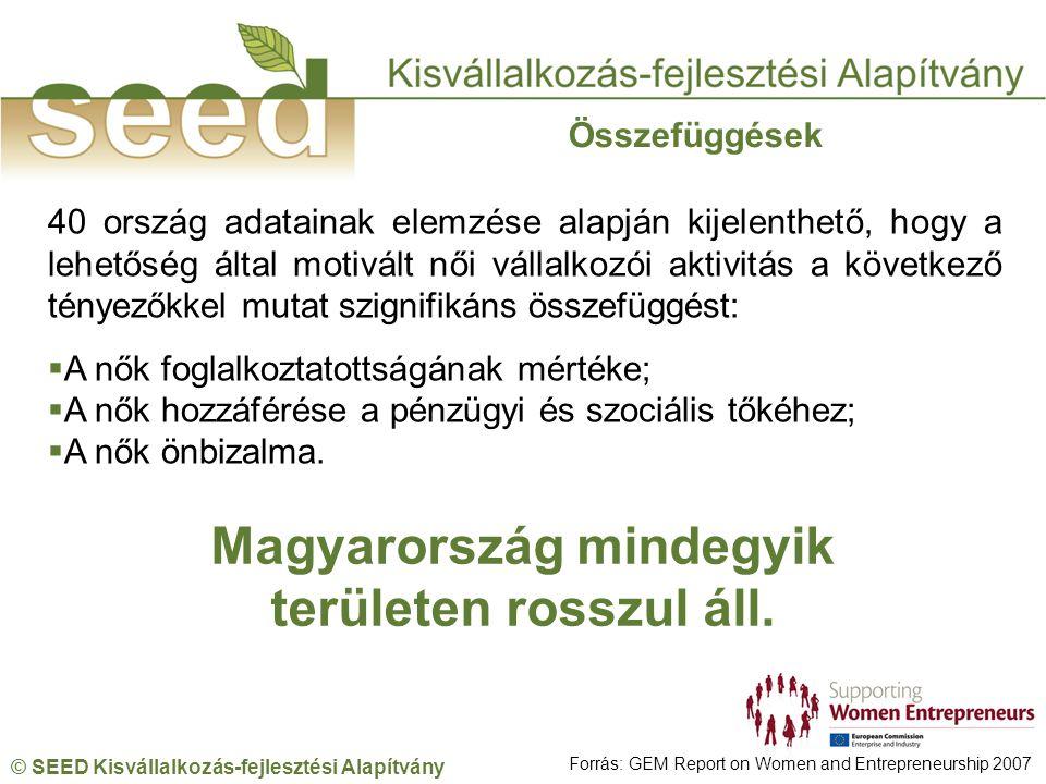 © SEED Kisvállalkozás-fejlesztési Alapítvány 40 ország adatainak elemzése alapján kijelenthető, hogy a lehetőség által motivált női vállalkozói aktivitás a következő tényezőkkel mutat szignifikáns összefüggést:  A nők foglalkoztatottságának mértéke;  A nők hozzáférése a pénzügyi és szociális tőkéhez;  A nők önbizalma.