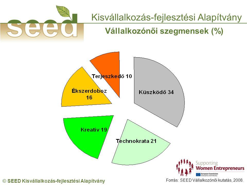 © SEED Kisvállalkozás-fejlesztési Alapítvány Vállalkozónői szegmensek (%) Forrás: SEED Vállalkozónői kutatás, 2008.