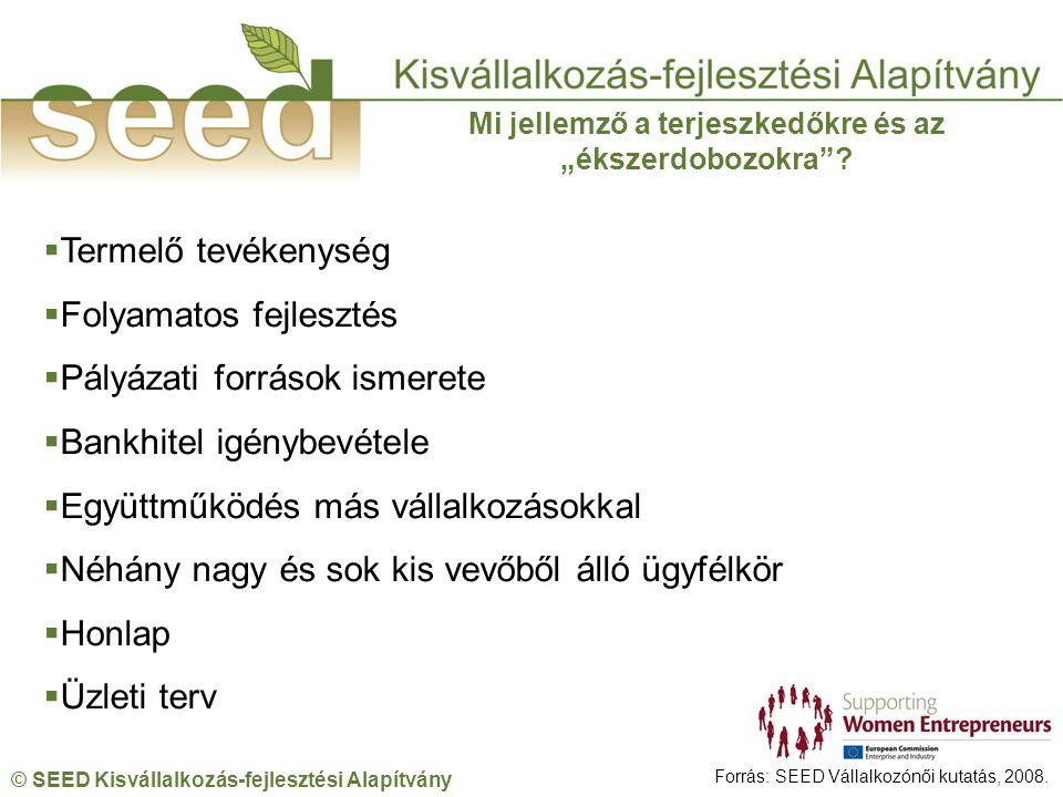 © SEED Kisvállalkozás-fejlesztési Alapítvány Forrás: SEED Vállalkozónői kutatás, 2008.