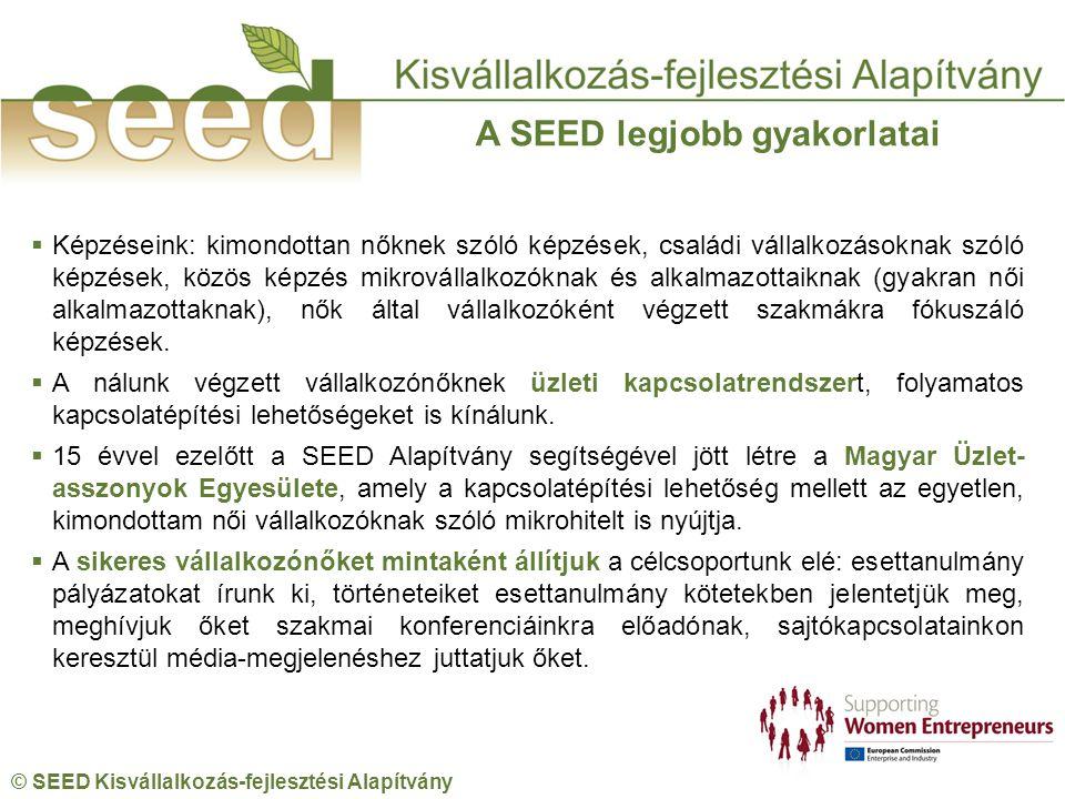 © SEED Kisvállalkozás-fejlesztési Alapítvány  Képzéseink: kimondottan nőknek szóló képzések, családi vállalkozásoknak szóló képzések, közös képzés mikrovállalkozóknak és alkalmazottaiknak (gyakran női alkalmazottaknak), nők által vállalkozóként végzett szakmákra fókuszáló képzések.