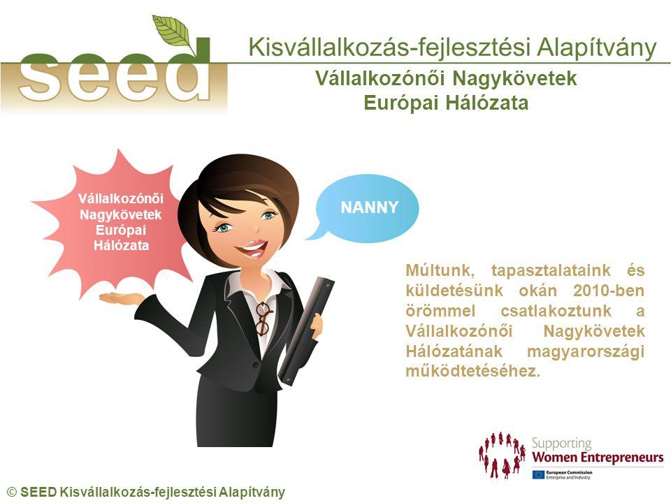 © SEED Kisvállalkozás-fejlesztési Alapítvány Vállalkozónői Nagykövetek Európai Hálózata Vállalkozónői Nagykövetek Európai Hálózata NANNY Múltunk, tapasztalataink és küldetésünk okán 2010-ben örömmel csatlakoztunk a Vállalkozónői Nagykövetek Hálózatának magyarországi működtetéséhez.