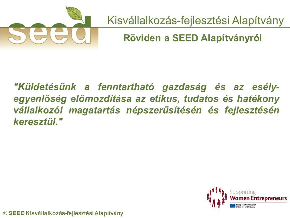 © SEED Kisvállalkozás-fejlesztési Alapítvány Röviden a SEED Alapítványról Küldetésünk a fenntartható gazdaság és az esély- egyenlőség előmozdítása az etikus, tudatos és hatékony vállalkozói magatartás népszerűsítésén és fejlesztésén keresztül.
