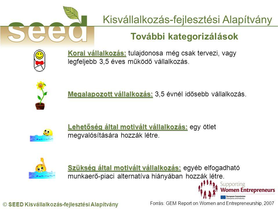 © SEED Kisvállalkozás-fejlesztési Alapítvány Korai vállalkozás: Korai vállalkozás: tulajdonosa még csak tervezi, vagy legfeljebb 3,5 éves működő vállalkozás.