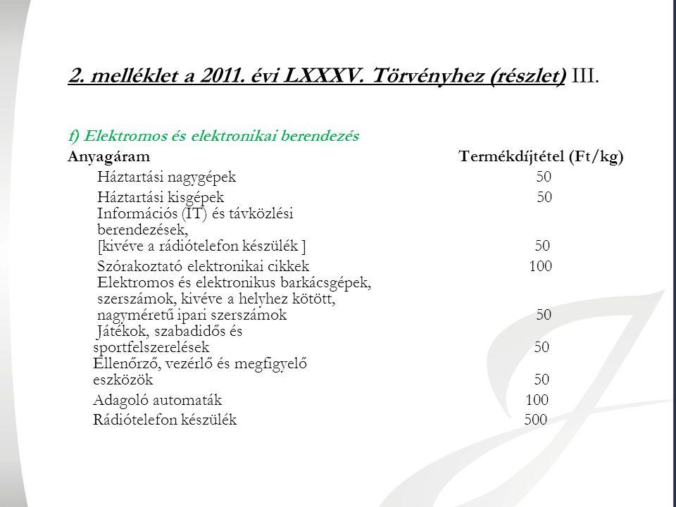 2. melléklet a 2011. évi LXXXV. Törvényhez (részlet) III. f) Elektromos és elektronikai berendezés Anyagáram Termékdíjtétel (Ft/kg) Háztartási nagygép