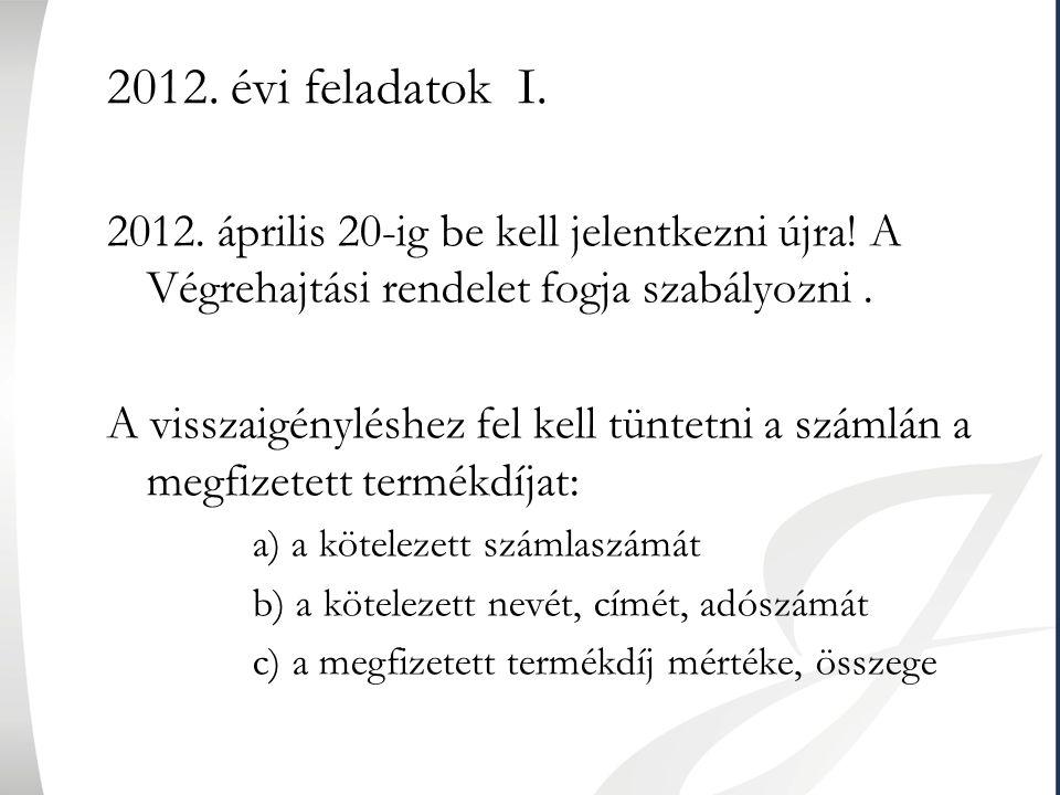 2012. évi feladatok I. 2012. április 20-ig be kell jelentkezni újra! A Végrehajtási rendelet fogja szabályozni. A visszaigényléshez fel kell tüntetni