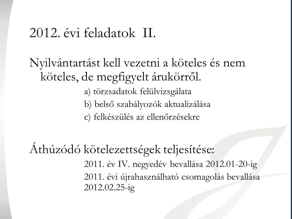 2012. évi feladatok II. Nyilvántartást kell vezetni a köteles és nem köteles, de megfigyelt árukörről. a) törzsadatok felülvizsgálata b) belső szabály