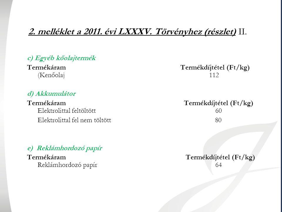 2. melléklet a 2011. évi LXXXV. Törvényhez (részlet) II. c) Egyéb kőolajtermék Termékáram Termékdíjtétel (Ft/kg) (Kenőolaj 112 d) Akkumulátor Termékár