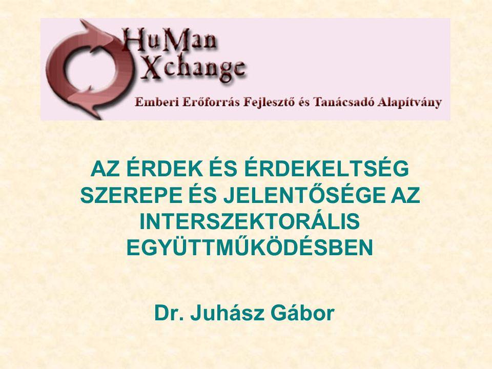 AZ ÉRDEK ÉS ÉRDEKELTSÉG SZEREPE ÉS JELENTŐSÉGE AZ INTERSZEKTORÁLIS EGYÜTTMŰKÖDÉSBEN Dr. Juhász Gábor