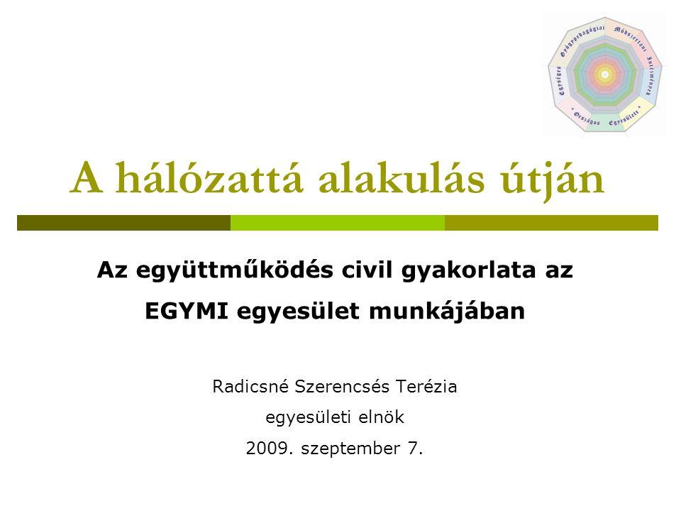 A hálózattá alakulás útján Az együttműködés civil gyakorlata az EGYMI egyesület munkájában Radicsné Szerencsés Terézia egyesületi elnök 2009. szeptemb