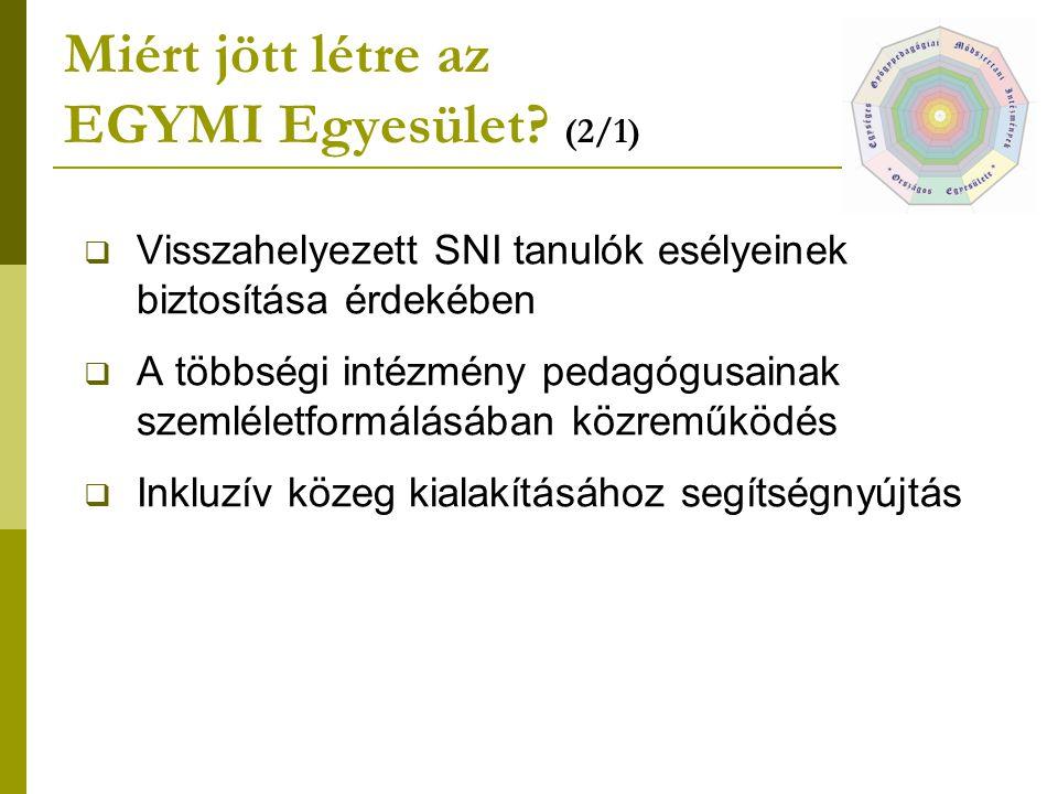Miért jött létre az EGYMI Egyesület? (2/1)  Visszahelyezett SNI tanulók esélyeinek biztosítása érdekében  A többségi intézmény pedagógusainak szemlé