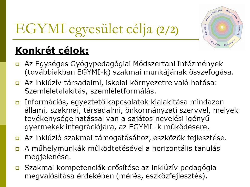 EGYMI egyesület célja (2/2) Konkrét célok:  Az Egységes Gyógypedagógiai Módszertani Intézmények (továbbiakban EGYMI-k) szakmai munkájának összefogása