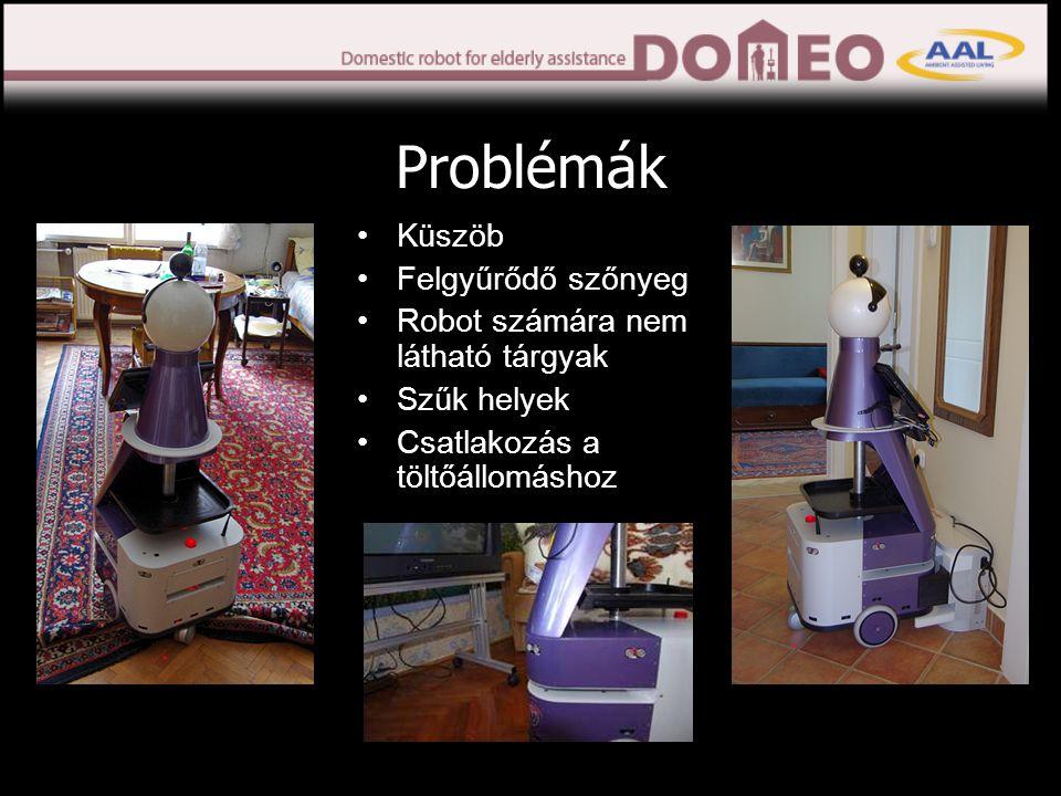 Problémák •Küszöb •Felgyűrődő szőnyeg •Robot számára nem látható tárgyak •Szűk helyek •Csatlakozás a töltőállomáshoz