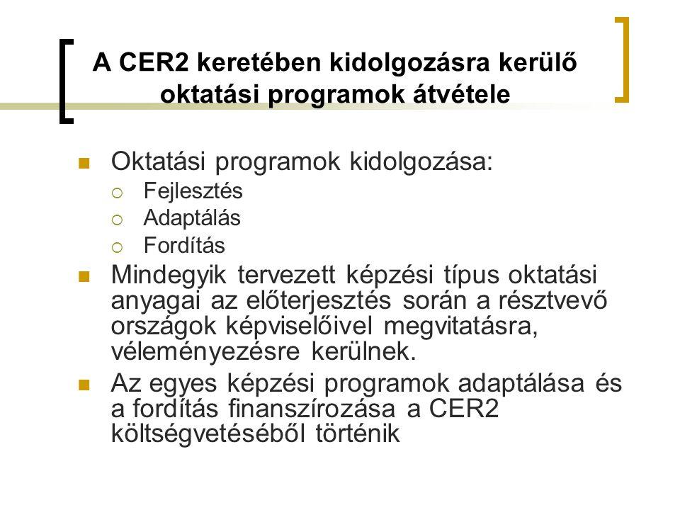 A CER2 keretében kidolgozásra kerülő oktatási programok átvétele  Oktatási programok kidolgozása:  Fejlesztés  Adaptálás  Fordítás  Mindegyik tervezett képzési típus oktatási anyagai az előterjesztés során a résztvevő országok képviselőivel megvitatásra, véleményezésre kerülnek.