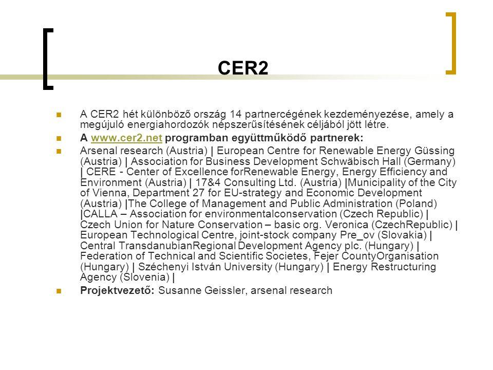 """Előnyök Magyarország számára  A megújuló energiahordozók Magyarország számára is előnyt jelentenek  új perspektívákat nyit meg a regionális gazdálkodás terén  biztos ellátást teremt és  hozzájárul a hosszú távú fenntartható fejlődéshez  A CER2 az alábbiakat kínálja:  továbbképzések,  minőségbiztosítási tevékenység,  """"Start ups energetikai vállalkozások alapításának támogatása (információk),  regionális energiakoncepciók kidolgozása, valamint  regionális csoportosulások és szakmai hálózatok felépítése (klaszterek)."""