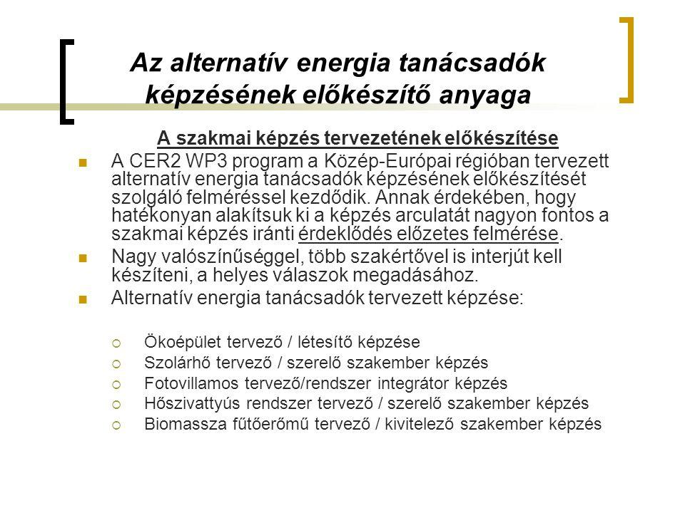 Az alternatív energia tanácsadók képzésének előkészítő anyaga A szakmai képzés tervezetének előkészítése  A CER2 WP3 program a Közép-Európai régióban tervezett alternatív energia tanácsadók képzésének előkészítését szolgáló felméréssel kezdődik.