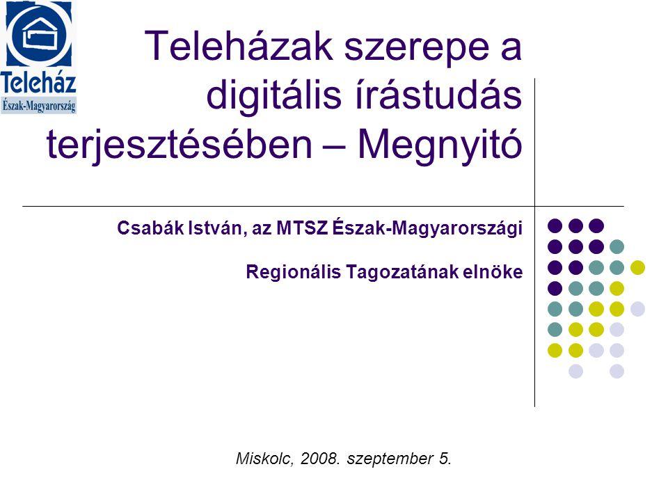 Projektek - települési digitális tartalmak készítése, gondozása - Regionális szociális adatbázis (www.munkahelyteremtes.hu)www.munkahelyteremtes.hu - Információ-bróker képzés - Civil szervezetek elektronikus együttműködését segítő közösségi portál fejlesztése - Digitális kisközösség modellprogram - Közösségi tervezés módszertan - Közösségi részvétel kompetenciái - Helyi demokráciafejlesztés - Közösségi tanulóközpont - E-learning teleházas alapképzés - E-learninges szakképzési programok - Teleházas jó megoldások gyűjtése, közzététele - E-adóbevallás, szolgáltatásfejlesztés - Munkaügyi információ szolgáltatás - Ifjúsági információ szolgáltatás - Teleházas módszertani és forrásközpont létrehozása