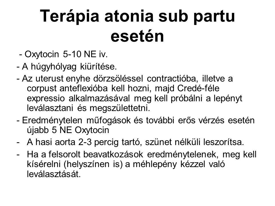 Terápia atonia sub partu esetén - Oxytocin 5-10 NE iv. - A húgyhólyag kiürítése. - Az uterust enyhe dörzsöléssel contractióba, illetve a corpust antef