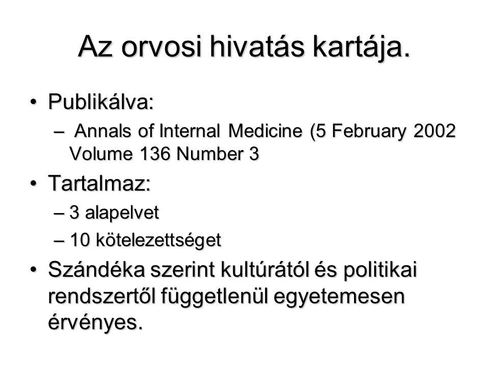 Az orvosi hivatás kartája. •Publikálva: – Annals of Internal Medicine (5 February 2002 Volume 136 Number 3 •Tartalmaz: –3 alapelvet –10 kötelezettsége