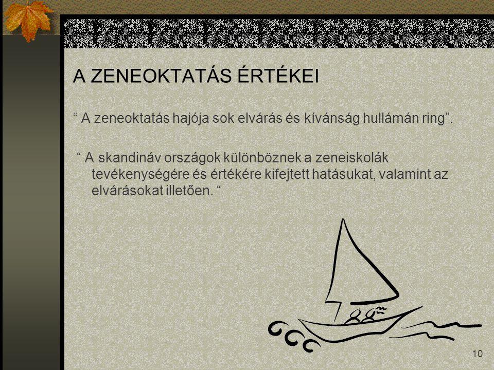 10 A ZENEOKTATÁS ÉRTÉKEI A zeneoktatás hajója sok elvárás és kívánság hullámán ring .