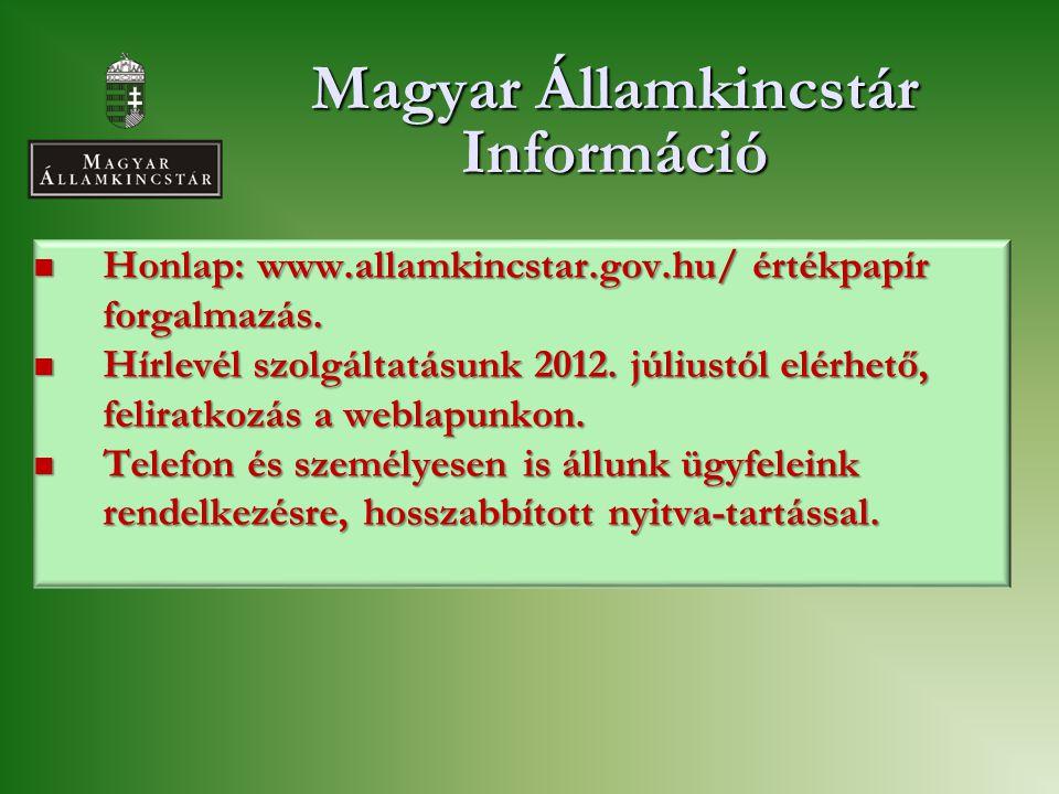 Magyar Államkincstár Információ  Honlap: www.allamkincstar.gov.hu/ értékpapír forgalmazás.  Hírlevél szolgáltatásunk 2012. júliustól elérhető, felir