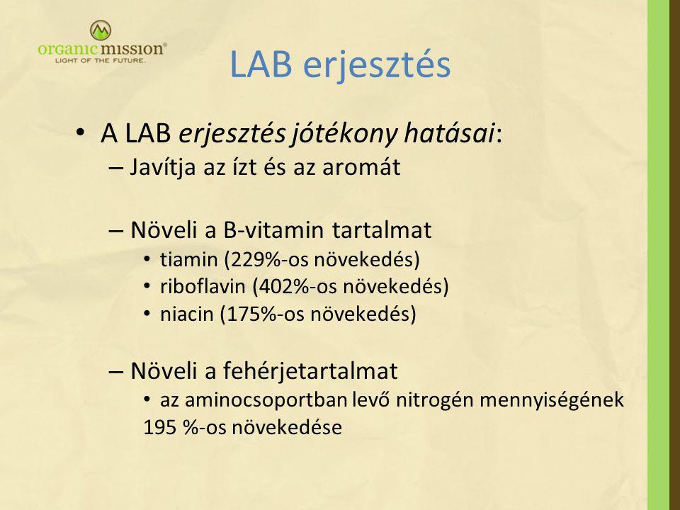 LAB erjesztés • A LAB erjesztés jótékony hatásai: – Javítja az ízt és az aromát – Növeli a B-vitamin tartalmat • tiamin (229%-os növekedés) • riboflavin (402%-os növekedés) • niacin (175%-os növekedés) – Növeli a fehérjetartalmat • az aminocsoportban levő nitrogén mennyiségének 195 %-os növekedése