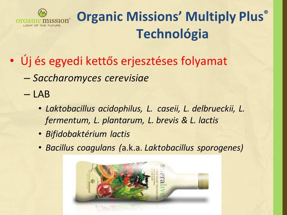 Organic Missions' Multiply Plus ® Technológia • Új és egyedi kettős erjesztéses folyamat – Saccharomyces cerevisiae – LAB • Laktobacillus acidophilus, L.
