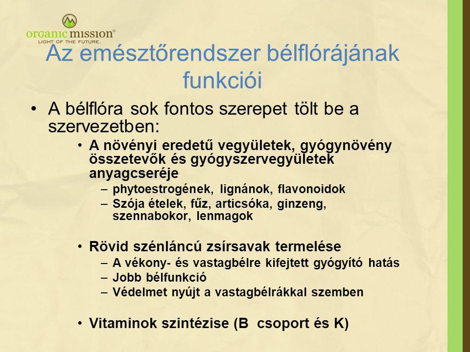 •A bélflóra sok fontos szerepet tölt be a szervezetben: •A növényi eredetű vegyületek, gyógynövény összetevők és gyógyszervegyületek anyagcseréje –phytoestrogének, lignánok, flavonoidok –Szója ételek, fűz, articsóka, ginzeng, szennabokor, lenmagok •Rövid szénláncú zsírsavak termelése –A vékony- és vastagbélre kifejtett gyógyító hatás –Jobb bélfunkció –Védelmet nyújt a vastagbélrákkal szemben •Vitaminok szintézise (B csoport és K) Az emésztőrendszer bélflórájának funkciói