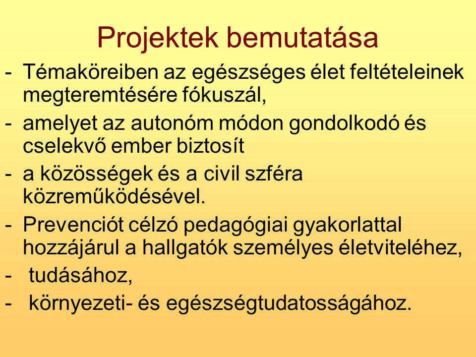 Projektek bemutatása -Témaköreiben az egészséges élet feltételeinek megteremtésére fókuszál, -amelyet az autonóm módon gondolkodó és cselekvő ember bi