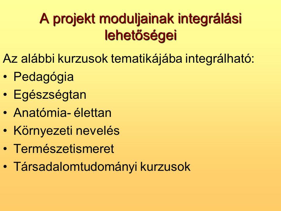 A projekt moduljainak integrálási lehetőségei Az alábbi kurzusok tematikájába integrálható: •Pedagógia •Egészségtan •Anatómia- élettan •Környezeti nev