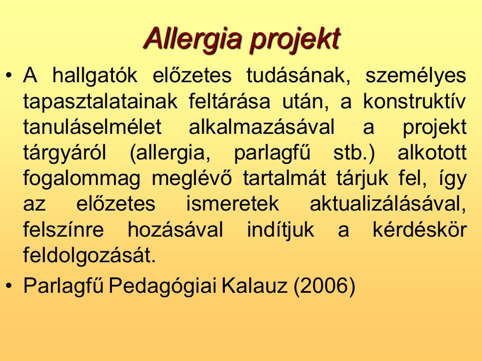 Allergia projekt •A hallgatók előzetes tudásának, személyes tapasztalatainak feltárása után, a konstruktív tanuláselmélet alkalmazásával a projekt tár