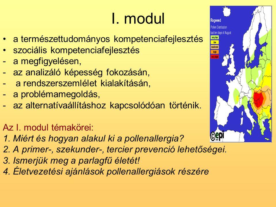 I. modul •a természettudományos kompetenciafejlesztés •szociális kompetenciafejlesztés -a megfigyelésen, -az analizáló képesség fokozásán, - a rendsze