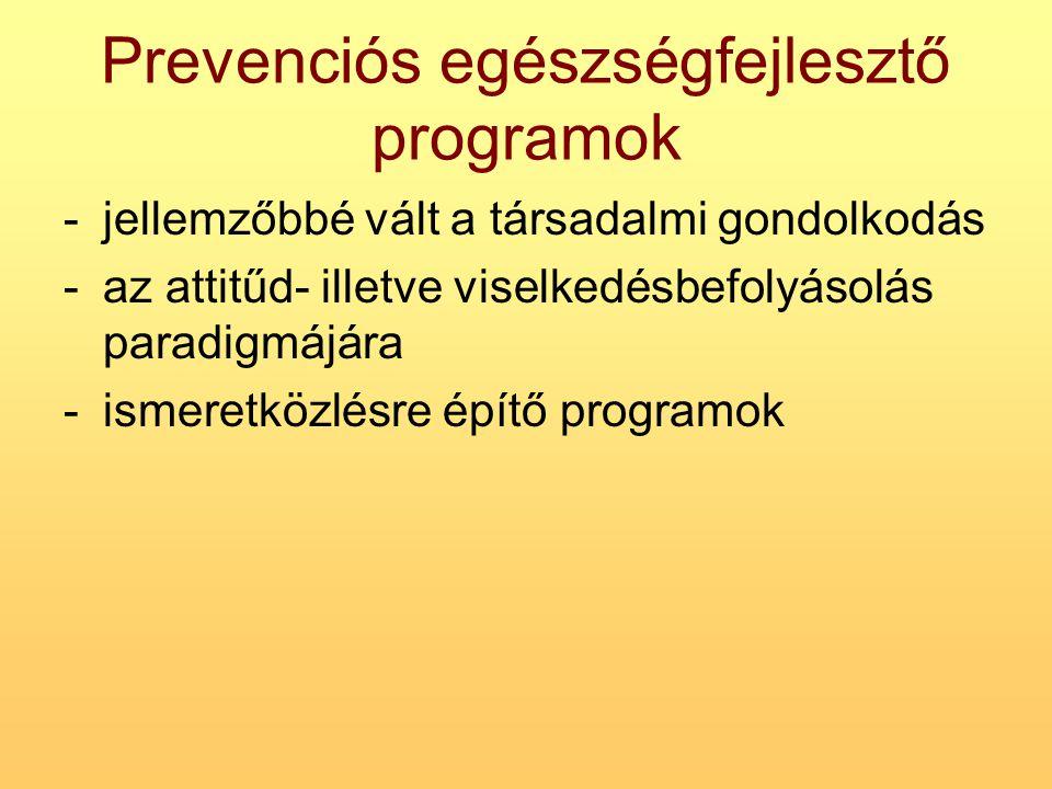 Prevenciós egészségfejlesztő programok -jellemzőbbé vált a társadalmi gondolkodás -az attitűd- illetve viselkedésbefolyásolás paradigmájára -ismeretkö