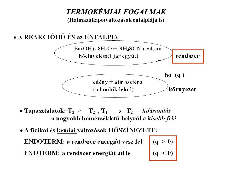 TERMOKÉMIAI FOGALMAK (Halmazállapotváltozások entalpiája is)