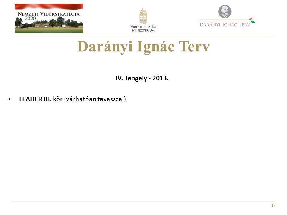 17 Darányi Ignác Terv IV. Tengely - 2013. • LEADER III. kör (várhatóan tavasszal)
