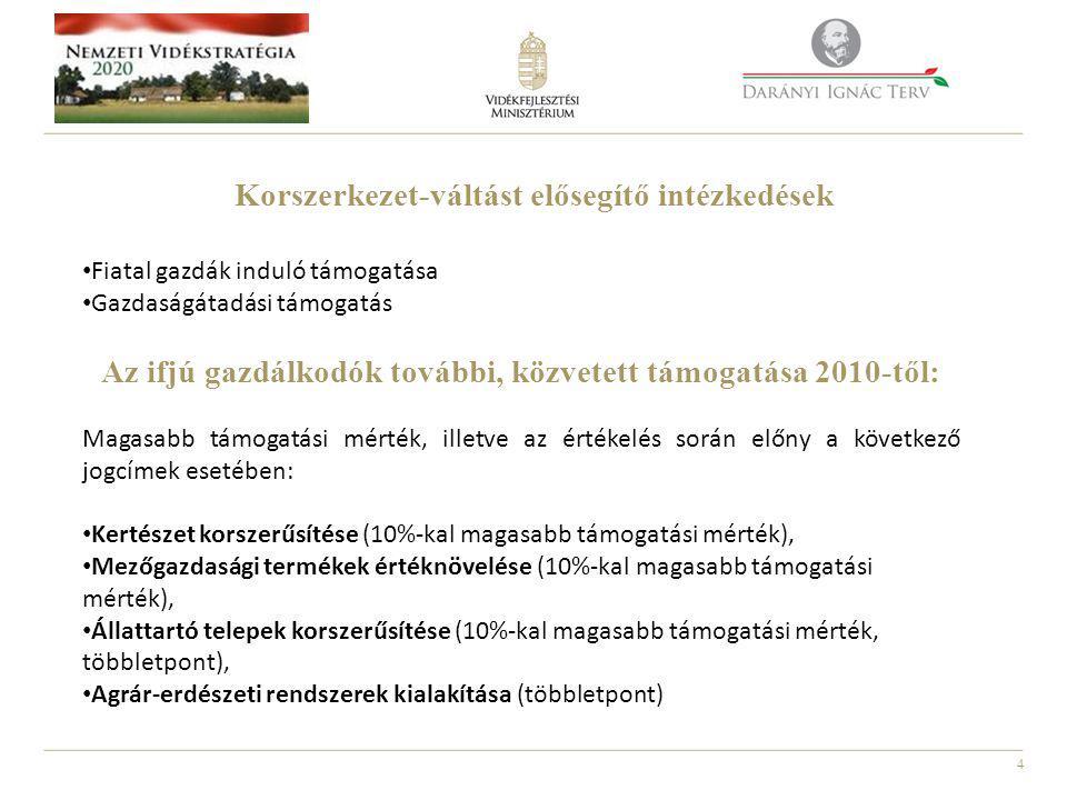4 Korszerkezet-váltást elősegítő intézkedések • Fiatal gazdák induló támogatása • Gazdaságátadási támogatás Az ifjú gazdálkodók további, közvetett támogatása 2010-től: Magasabb támogatási mérték, illetve az értékelés során előny a következő jogcímek esetében: • Kertészet korszerűsítése (10%-kal magasabb támogatási mérték), • Mezőgazdasági termékek értéknövelése (10%-kal magasabb támogatási mérték), • Állattartó telepek korszerűsítése (10%-kal magasabb támogatási mérték, többletpont), • Agrár-erdészeti rendszerek kialakítása (többletpont)