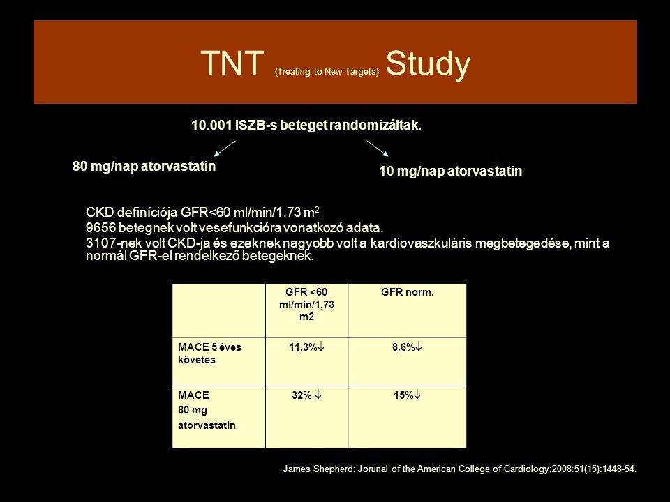 TNT (Treating to New Targets) Study 10.001 ISZB-s beteget randomizáltak. CKD definíciója GFR<60 ml/min/1.73 m 2 9656 betegnek volt vesefunkcióra vonat
