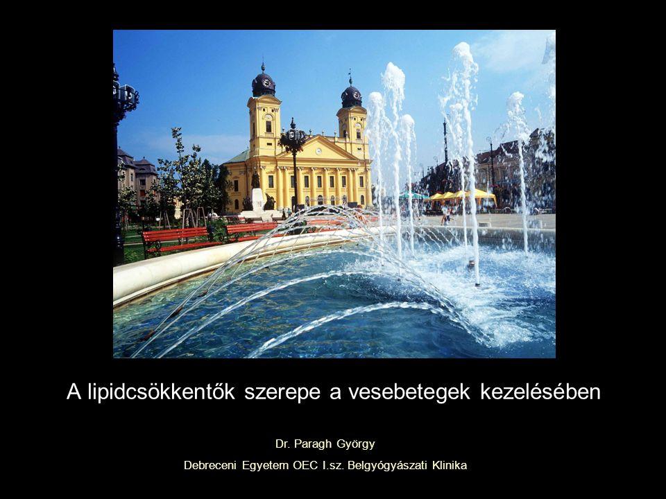 A lipidcsökkentők szerepe a vesebetegek kezelésében Dr. Paragh György Debreceni Egyetem OEC I.sz. Belgyógyászati Klinika
