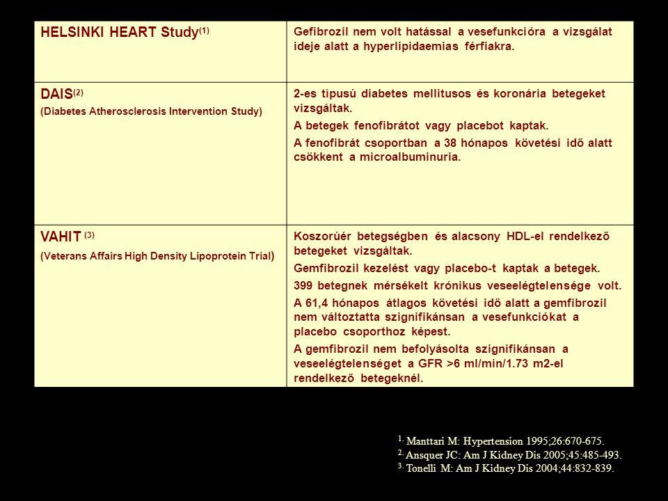 HELSINKI HEART Study (1) Gefibrozil nem volt hatással a vesefunkcióra a vizsgálat ideje alatt a hyperlipidaemias férfiakra. DAIS (2) (Diabetes Atheros