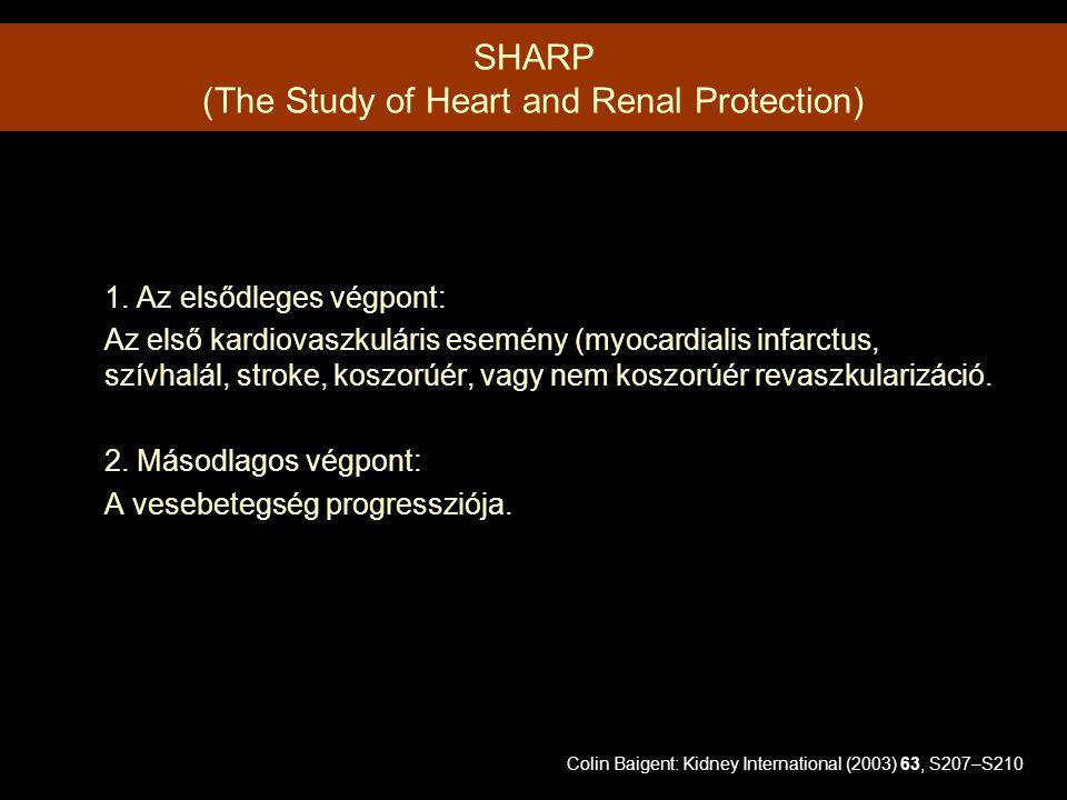1. Az elsődleges végpont: Az első kardiovaszkuláris esemény (myocardialis infarctus, szívhalál, stroke, koszorúér, vagy nem koszorúér revaszkularizáci
